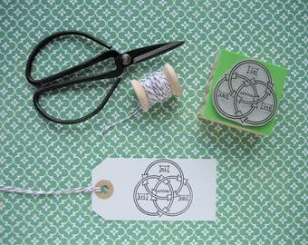BORROMEAN RINGS Stamp. Borromeo Knot Stamp. Circles Stamp.  Stamps of Mathematics. Mathematics Stamp. Maths Stamp. Geometry stamp