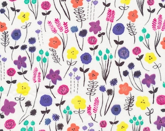 Flower Fields Organic Cotton Fabric, Pink and Purple Floral Fabric