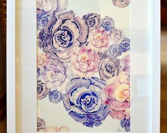 Peony fine art print by original watercolor illustration, high quality art print, pink painting, lilac, pastel yellow 30x40 cm  (app.12x16')