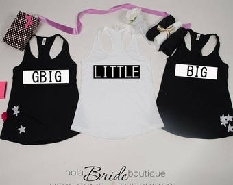 Big Little GBig GGBig Sorority tanks, sorority tank, Little Big, Greek shirt, Little sister, Big Sister, Big and Little shirts d92