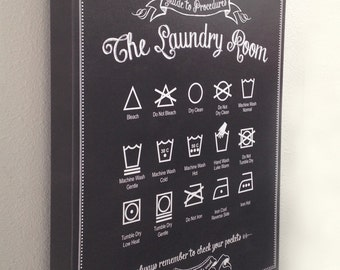 Canvas Guide to Procedures: The Laundry Room - 12x18 Gallery Wrapped Canvas - Sign, Art, Decor, Vintage, Chalkboard, Gift, Housewarming