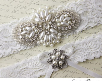 Lace Wedding Garter, Bridal Garter, White Garter, Wedding Garter Set, Bridal Garter Set, White Lace Garter, Ivory Lace Garter