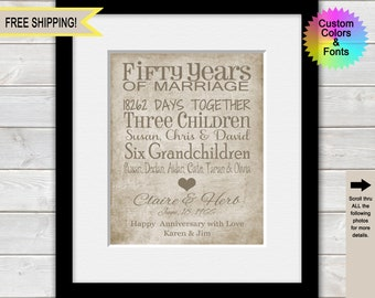 50th Anniversary Gifts for Parents, 50th Wedding Anniversary Gifts, Personalized 50 Years of Marriage,  Typography Anniversary Print
