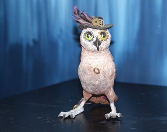 OOAK Steampunk Owl Sculpture