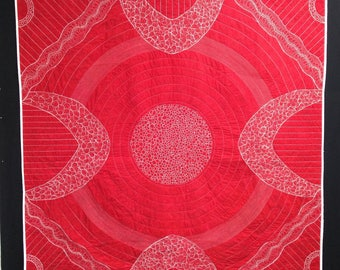 Red and white wholecloth art quilt