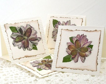 Pressed flower cards, Anemone notecards, Pressed flower notes, Pressed anemones, Real flowers, Mini note cards, Japanese anemone card