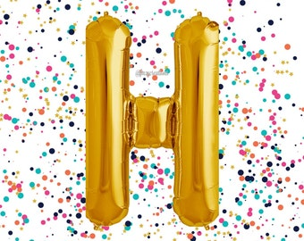 "Letter Balloon Gold 40"" / Wedding Balloons / ""H"" Mylar Balloon / Metallic Gold Letter Balloons / Gold Number Balloon / Gold Balloon"