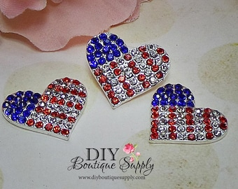 July 4th Heart Rhinestone buttons RED WHITE BLUE Fourth of July Crystal Embellishment Flatback for Headband flower centers 24mm 522025