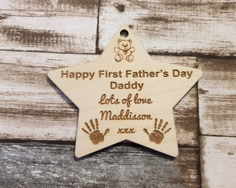Happy first fathers day hanging star