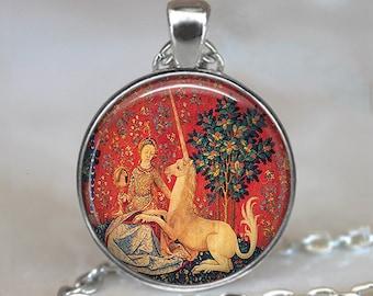 Lady and the Unicorn pendant, unicorn tapestry pendant, unicorn necklace Renaissance jewelry Renaissance Faire key chain key ring key fob