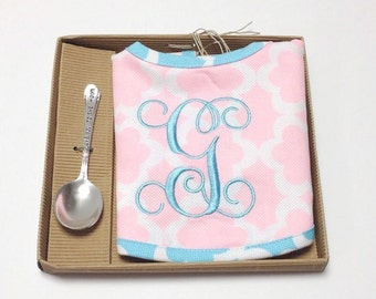 Monogrammed Baby Bib with Spoon Keepsake