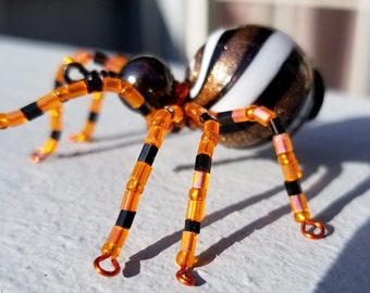 Beaded Spider, Wire, Seed Beads, Black, Orange, Halloween