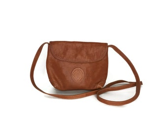 1990s Brown Leather Cross Body Bag / Vintage Leather UNISA Cross Body / Small Tan Leather Bag