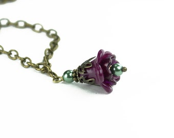 Purple Hand Painted Lucite Flower Necklace, Vintage Style, Antiqued Brass, Teal Glass Pearls, Gifts for Her