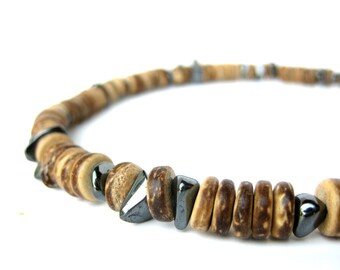 Men's Jewelry - Wood necklace for men handmade from hematite and wood bead necklace - Quicksilver