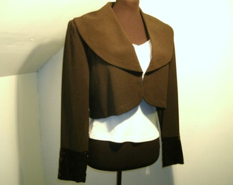 Harve Benard Cropped Blazer Deep Rich Chocolate Brown Large Shawl Collar Velvet Cuff Business Casual Jacket Women's Size Small Medium