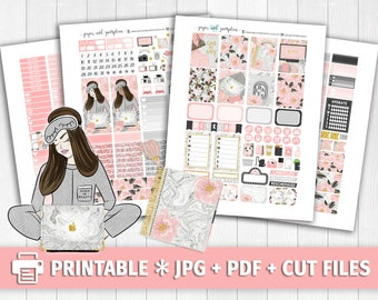 STAYCATION Printable Planner Stickers/for use with Erin Condren/Weekly Kit/Cutfiles/Summer Planner Gold Glitter Office Marble Candles Pink