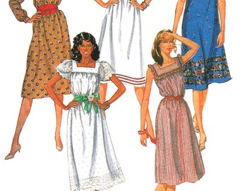 1980s Dress Pattern Pullover Yoked Quick Easy McCall's Vintage Sewing Women's Misses Size 12 Bust 34 Inches
