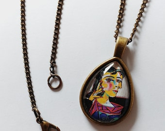 Picasso necklace / jewelry / pendant / painting / artist / surrealism art / gift idea / gift for her