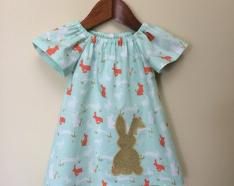 Baby girls gold bunny dress, handmade girls dress, easter dress. Size 18-24 months (2)