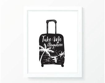 Take Me Anywhere Suitcase Wall Decor Prints