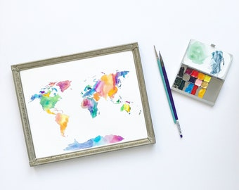 John 16:33 Watercolor/Handlettered World Map