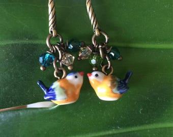 Bird earrings made of porcelain