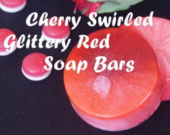Cherry Soap Tutorial Red Soap Swirled Soap Glittery Soap Bars Sparkling Soap Tutorial Soaping Guide Cherry Blossom Red-colored Soap