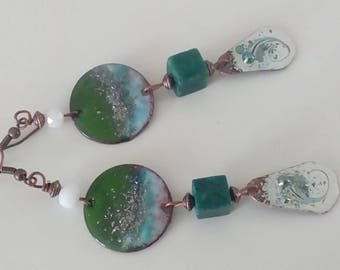 Long earrings copper enamel and turquoise African