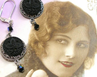 "Antique LACY BUTTON earrings, Victorian clovers in black glass on silver. 2.25"" Present, gift."