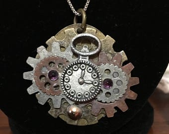 "Watch (Pocket) ""Powered"" by Gears and Swarovski Amethyst Steampunk Inspired"