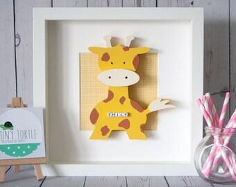 Wooden giraffe frame, new baby gift, christening gift, baby shower gift, nursery decor, personalised gift, birthday gift, wooden box frame