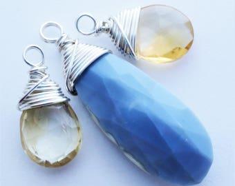Oregon Owyhee Blue Opal Citrine Sterling Silver Briolette Charm Trio