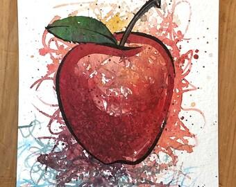 Splatter Apple original watercolor painting