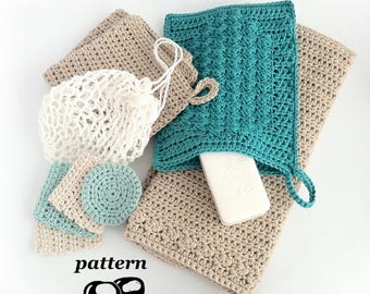 Crochet Bathroom Set / Washcloth / Guest Towel / Wash Mitt / Face Scrubbies / Laundry Bag - Crochet Patterns