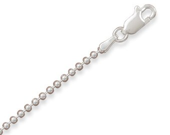 1.8mm 24 INCH BEAD Chain Necklace - 925 Sterling Silver
