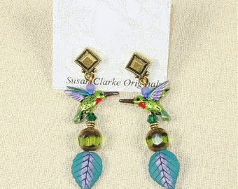 Hummingbird on Leaf Earrings- J-4