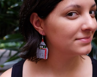 Red Tongue // Native American Beaded Earrings / Southwestern / Festival Jewelry / Boho Style