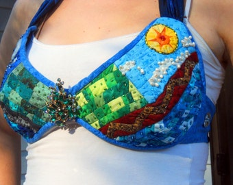 Wearable Art Night and Day Quilted Landscape Halter Top Handmade Quiltsy Idaho