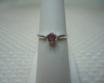 Round Cut Ruby Ring in Sterling Silver  #2279