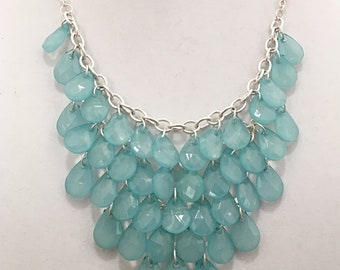 Teal Cascade Necklace / Silver Chain Teal Beads Bib Necklace.
