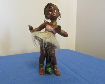 Vintage Tribal Native Figurine - Cute African Girl Figurine