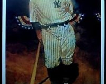 """NY Yankee """"The Iron Horse"""" Lou Gehrig US Postal Service Advertising Poster With Facsimile Autograph & 4 Plate Block Postage Stamps SEALED!"""