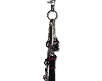 BDSM Jewelry Bettie Page Dangle Anywhere Naughty Maid Keychain, Jeans Jewelry, Purse Jewelry