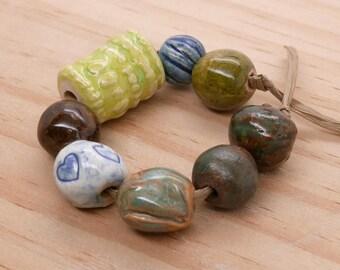 Stoneware Ceramic Assorted Beads Rustic Multi Color Handmade Pottery