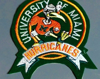 Vintage University Of Miami Hurricanes Embroidered Sew-on Patch
