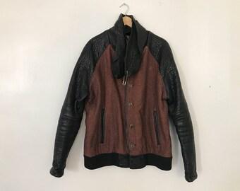 Custom Leather / Wool Jacket Vintage