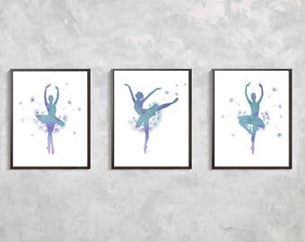 Ballerina Watercolor Prints, Ballerina poster, Ballet Art, Ballerina artwork, ballet print, ballerina decor. girls room decor, ballet wall