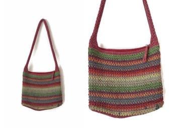 Vintage RAINBOW sak bag 1990s saks fifth avenue crochet bag woven bag knit purse colorful striped shoulder bag