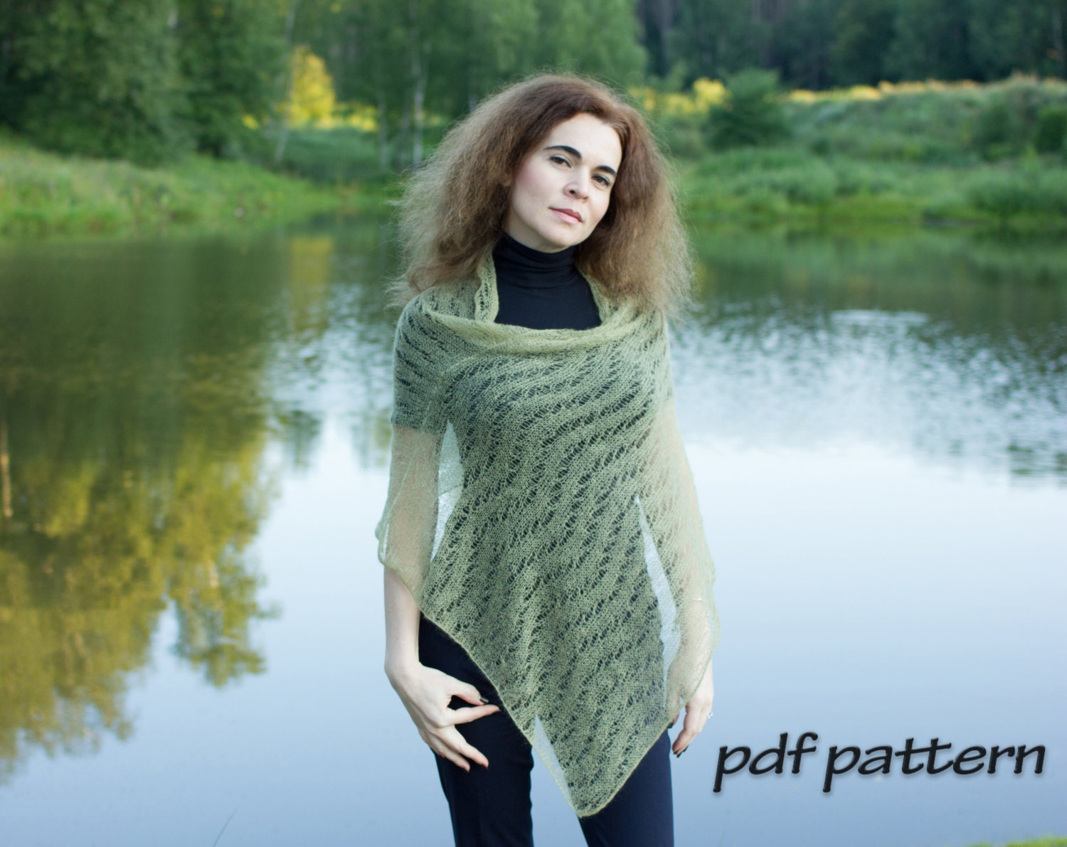 KNITTING PATTERN Perfect poncho Knitted poncho Lace wrap Pretty ...